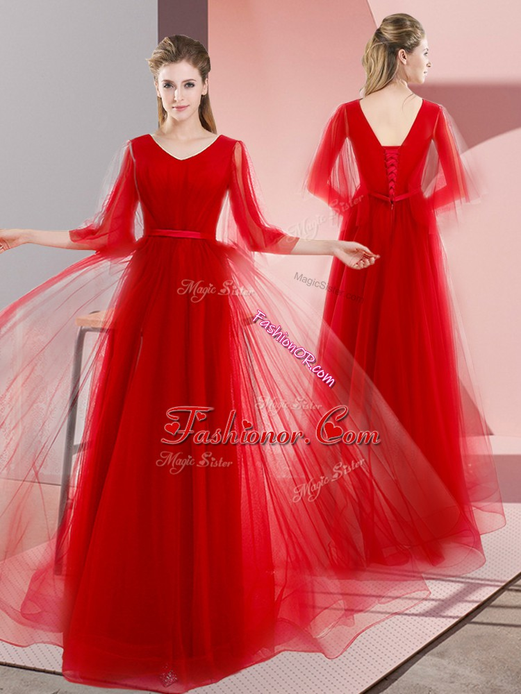 Dramatic Red Prom Gown Prom and Party with Beading V-neck Long Sleeves Lace Up