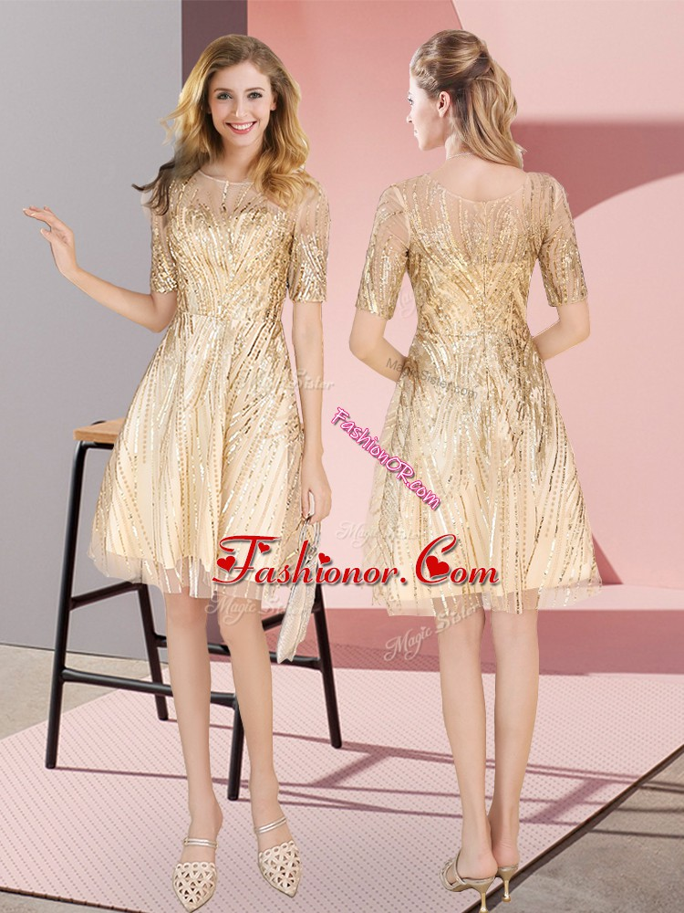Custom Made Ruching Prom Evening Gown Gold Zipper Half Sleeves Knee Length