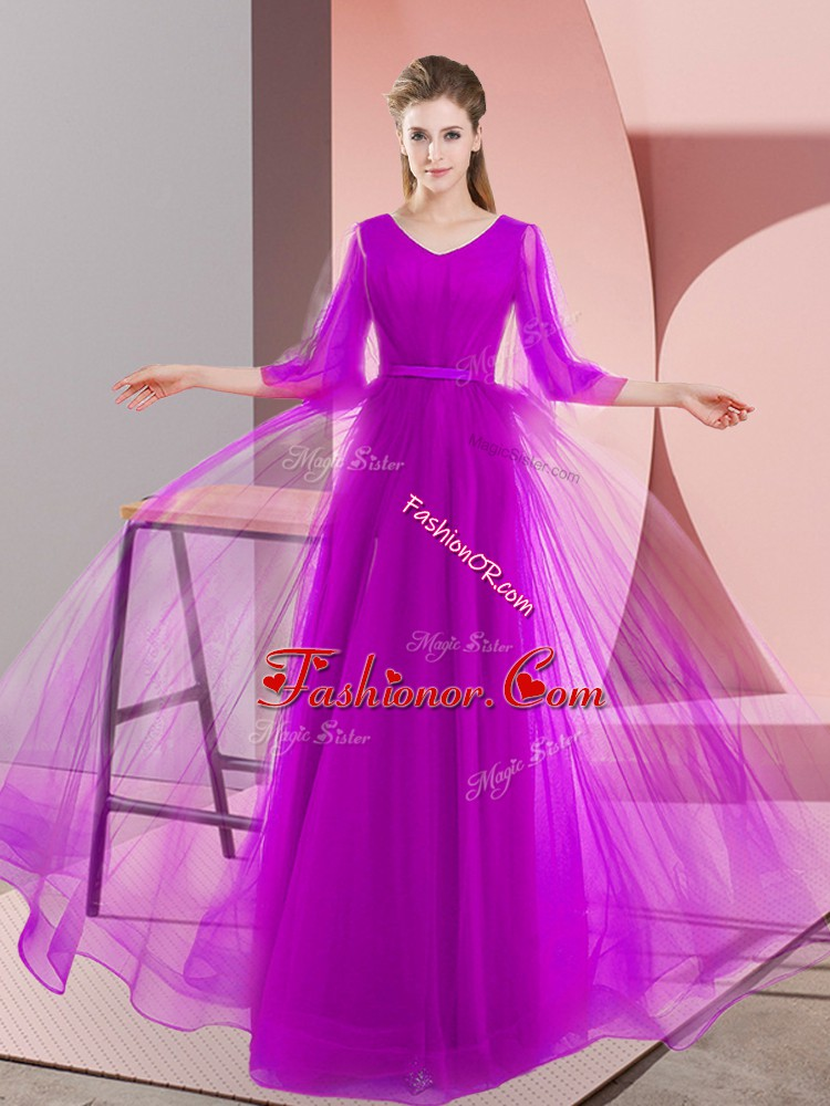 Noble Long Sleeves Tulle Floor Length Lace Up Prom Gown in Purple with Beading