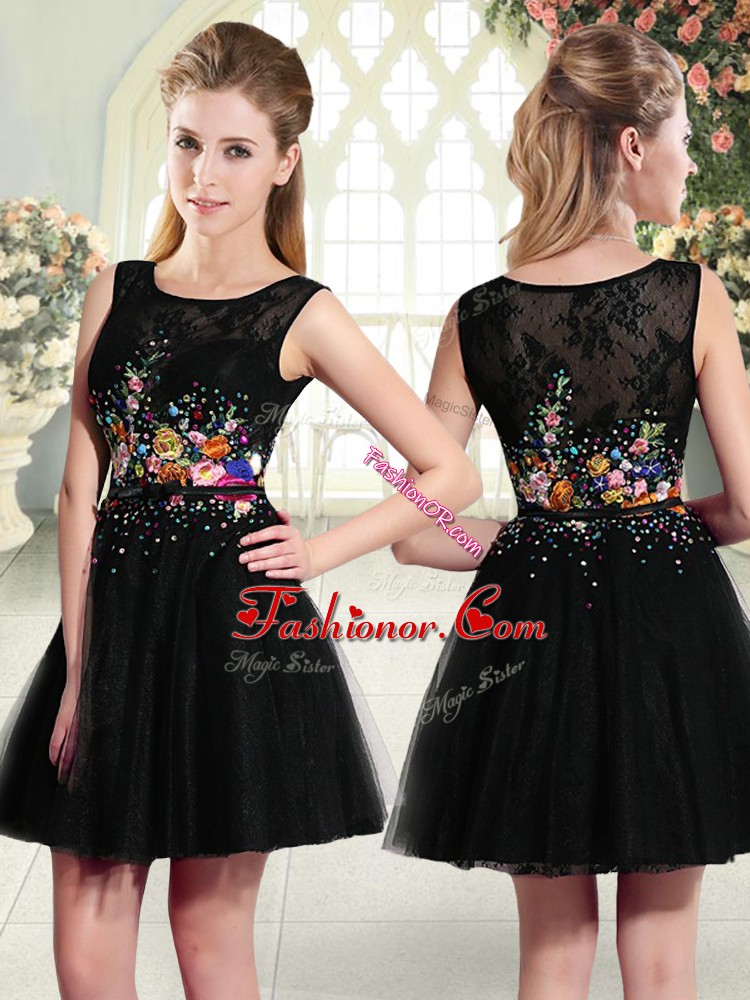 Black A-line Scoop Sleeveless Tulle Mini Length Side Zipper Beading and Embroidery