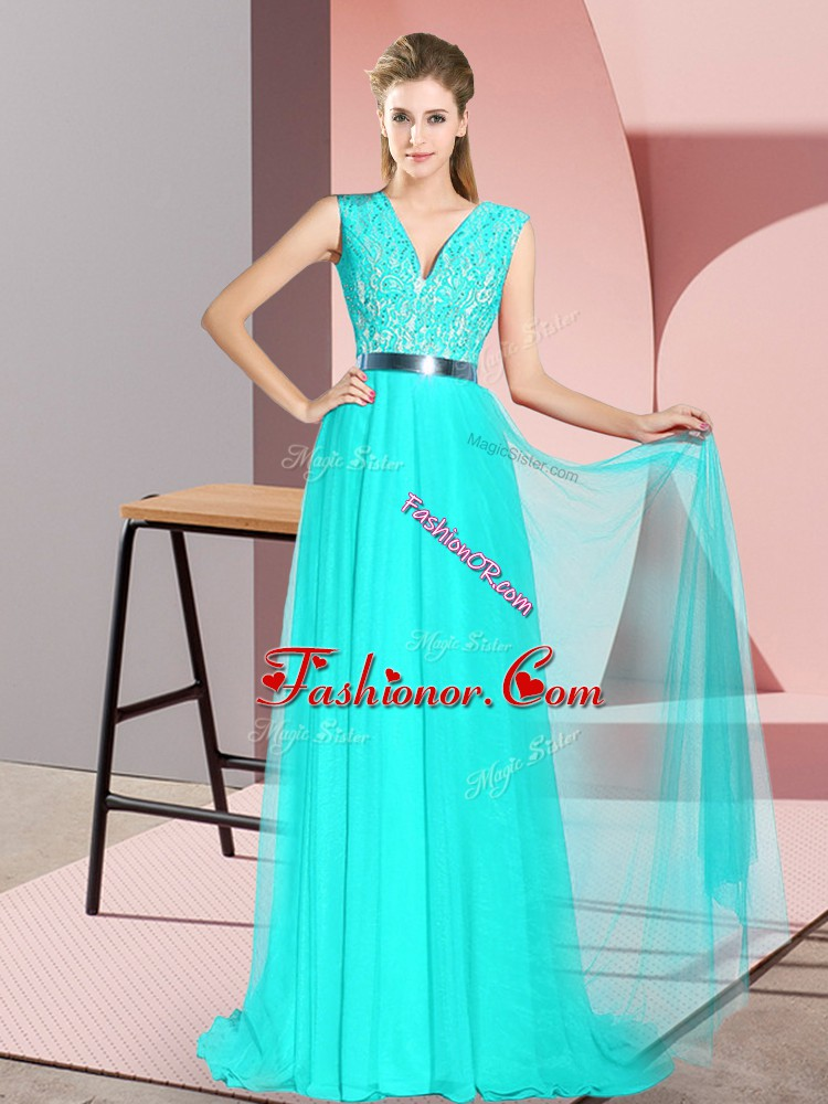 Eye-catching Turquoise Prom Dresses V-neck Sleeveless Sweep Train Zipper