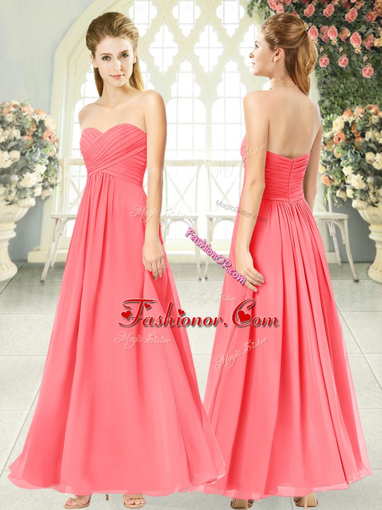 Nice Watermelon Red Sweetheart Zipper Ruching Prom Party Dress Sleeveless