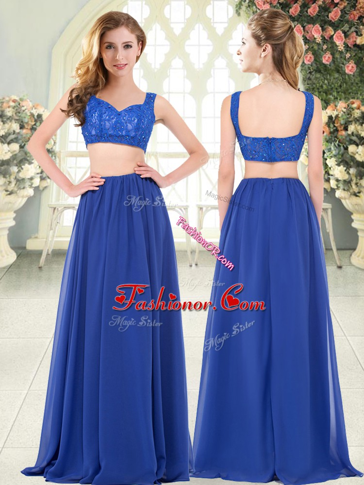 Cute Royal Blue Straps Zipper Beading and Lace Evening Dress Sleeveless