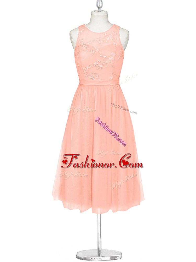 Designer Pink Chiffon Zipper Scoop Sleeveless Mini Length Prom Dresses Lace