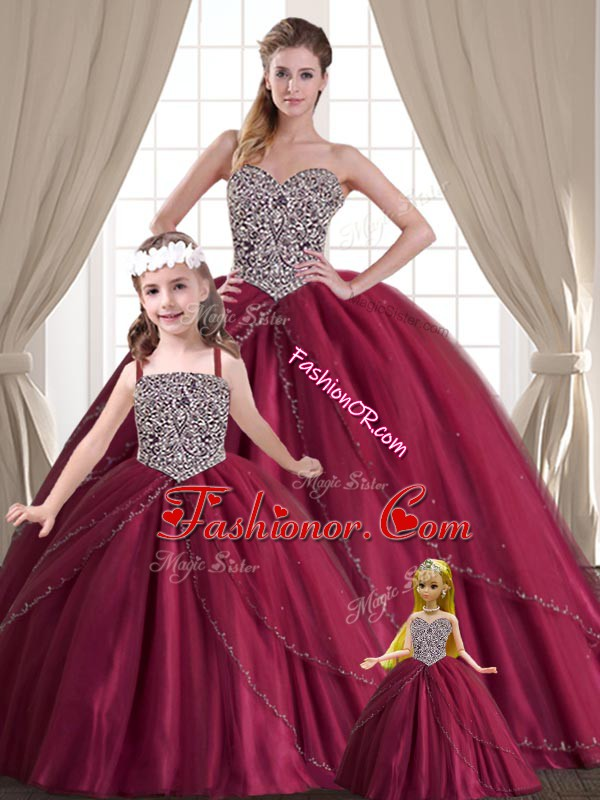Hot Selling Sweetheart Sleeveless Tulle Quinceanera Gown Beading Lace Up