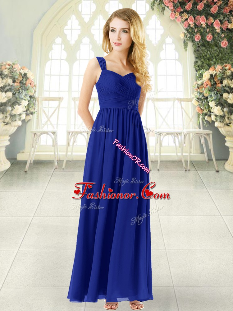 Royal Blue Straps Zipper Ruching Prom Evening Gown Sleeveless