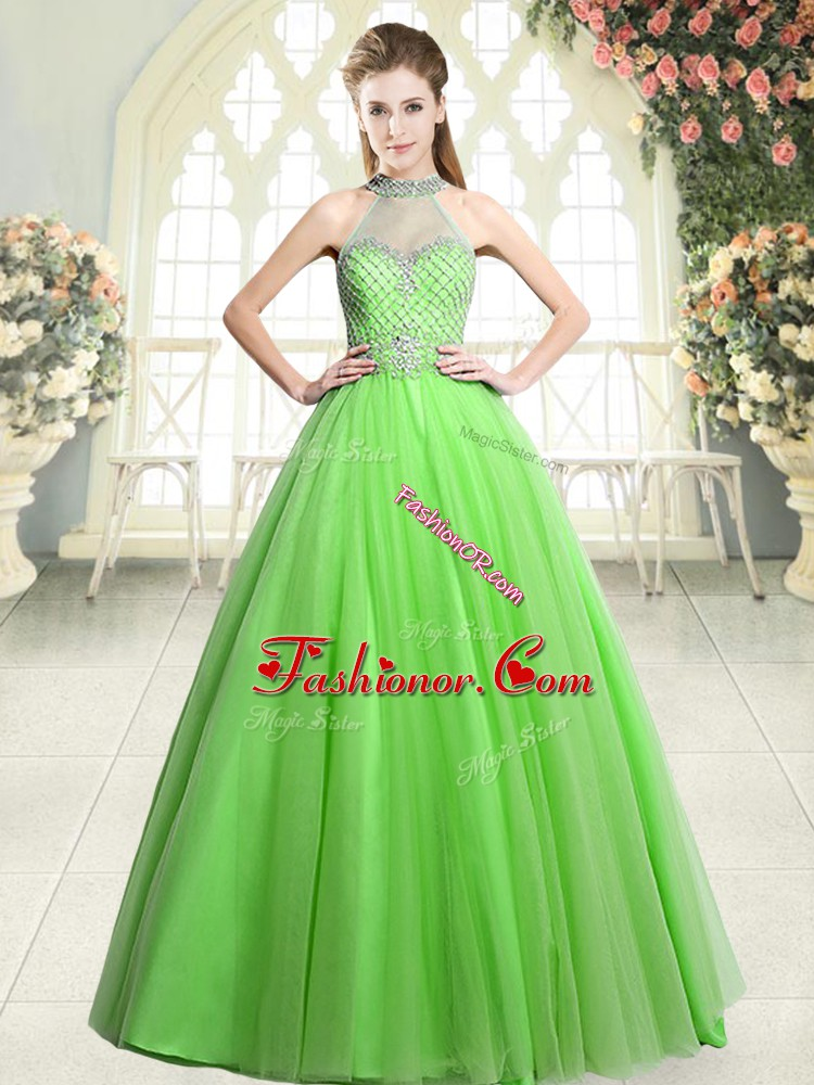 Tulle Sleeveless Floor Length Prom Gown and Beading