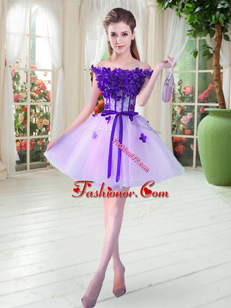Mini Length Lavender Prom Dresses Tulle Sleeveless Beading and Appliques