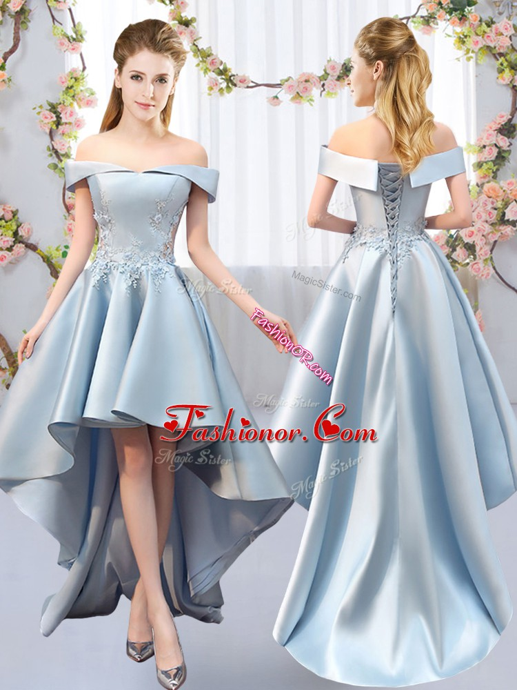 Fabulous Light Blue Satin Lace Up Court Dresses for Sweet 16 Sleeveless High Low Appliques