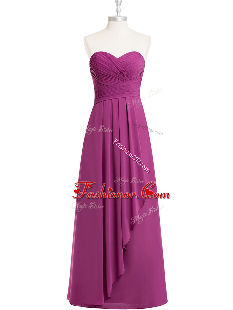 Nice Fuchsia Zipper Sweetheart Ruching Prom Dress Chiffon Sleeveless