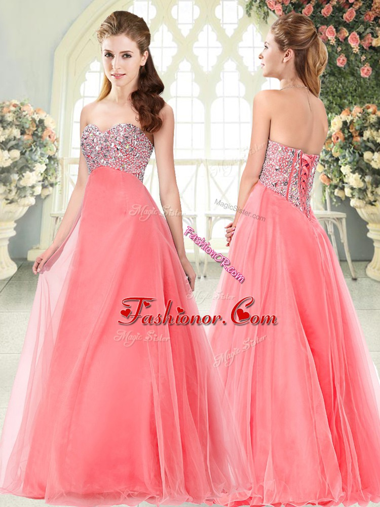 Custom Design A-line Prom Party Dress Watermelon Red Sweetheart Tulle Sleeveless Floor Length Lace Up