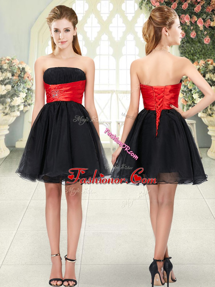Luxury Black Strapless Neckline Beading Homecoming Dress Sleeveless Lace Up