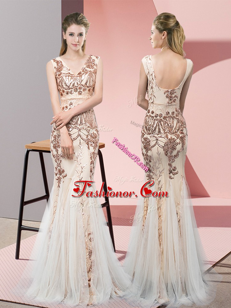 Floor Length Champagne Dress for Prom Tulle Sleeveless Sequins