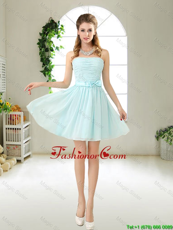 Elegant Strapless Mini Length Prom Dresses with Bowknot BMT052AFOR