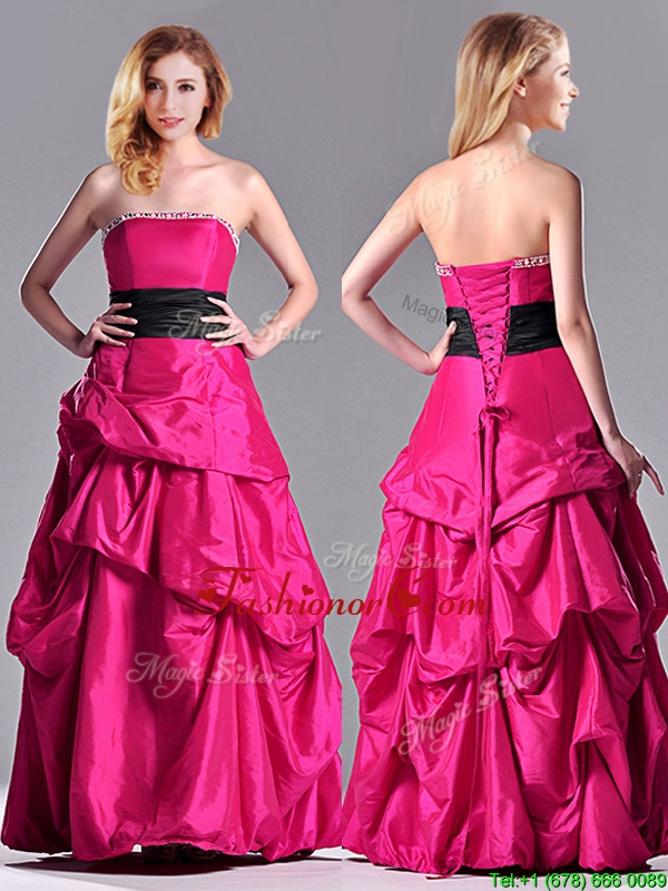 Hot Sale A Line Black Belt Prom Dress with Beaded Top and Bubbles ...