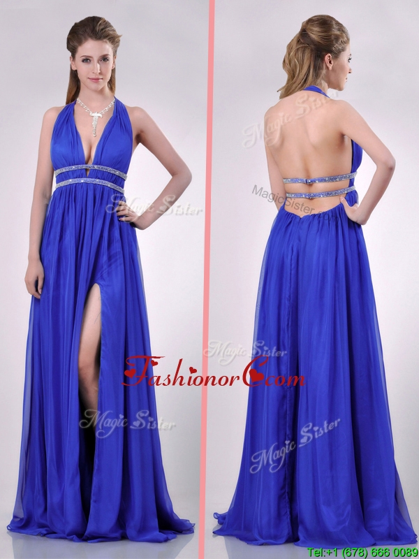 New Halter Top Blue Backless Prom Dress with Beading and High Slit THPD169FOR