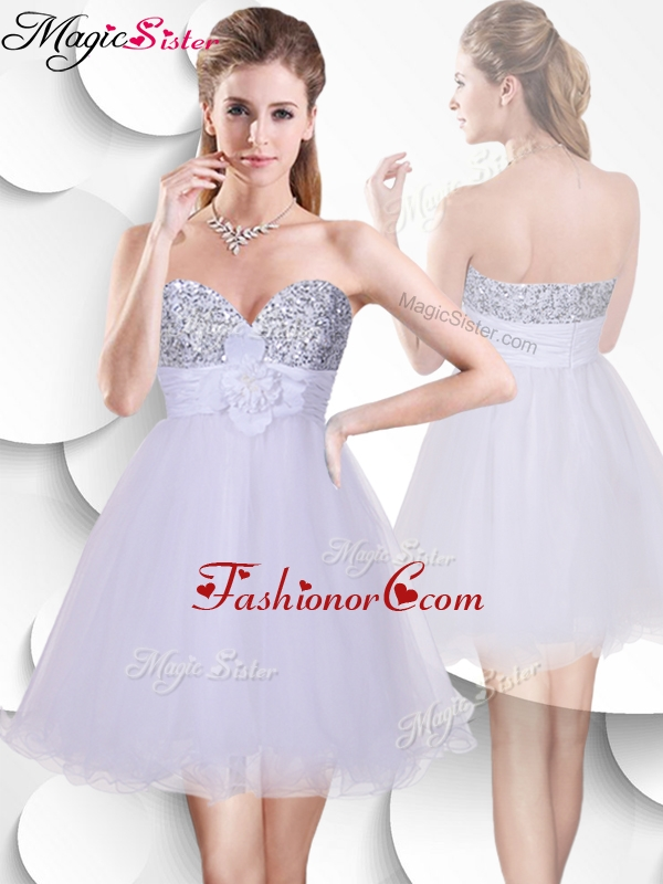 Beautiful Short Prom Dress with Sequins and Hand Made Flowers SWPD002FBFOR