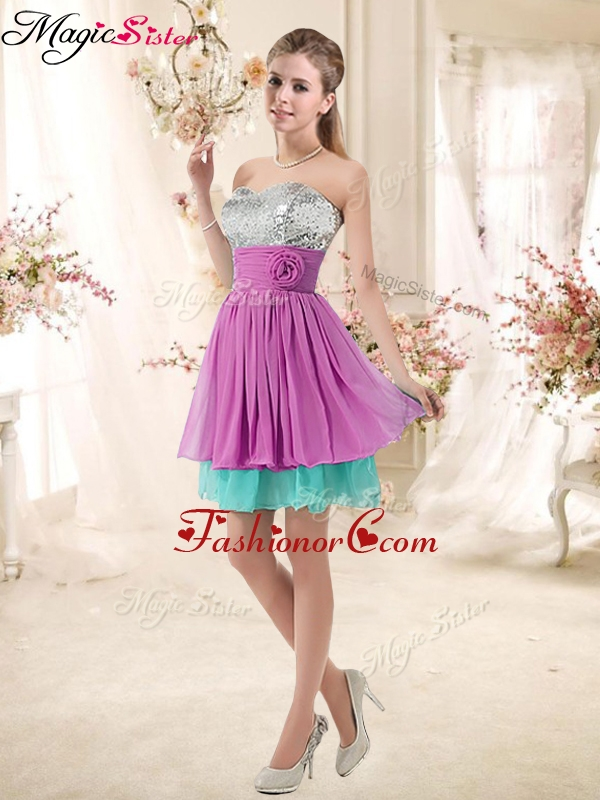 Inexpensive Sweetheart Sequins and Belt Prom Dresses in Multi Color BMT002E-2FOR