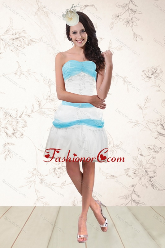 Short White and Baby Blue Strapless Prom Dresses for 2015 ...