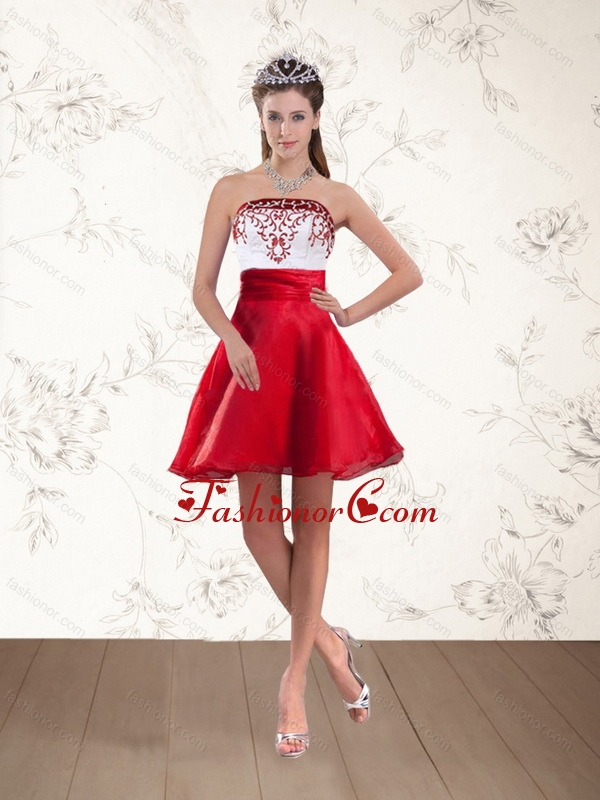 Strapless White And Wine Red Short Prom Dresses With Embroidery