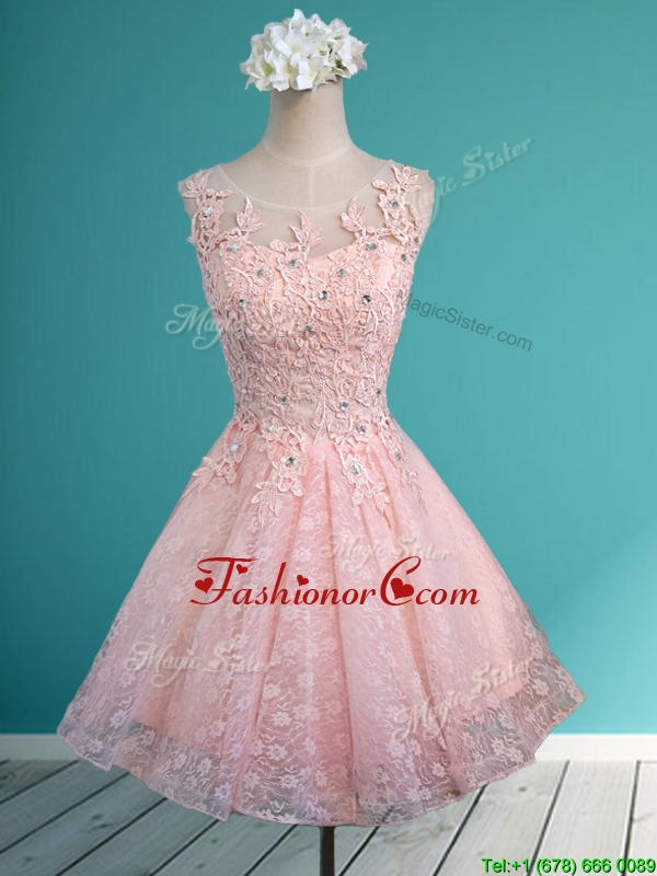 Best Scoop Beading and Appliques Short Prom Dress in Baby Pink ...