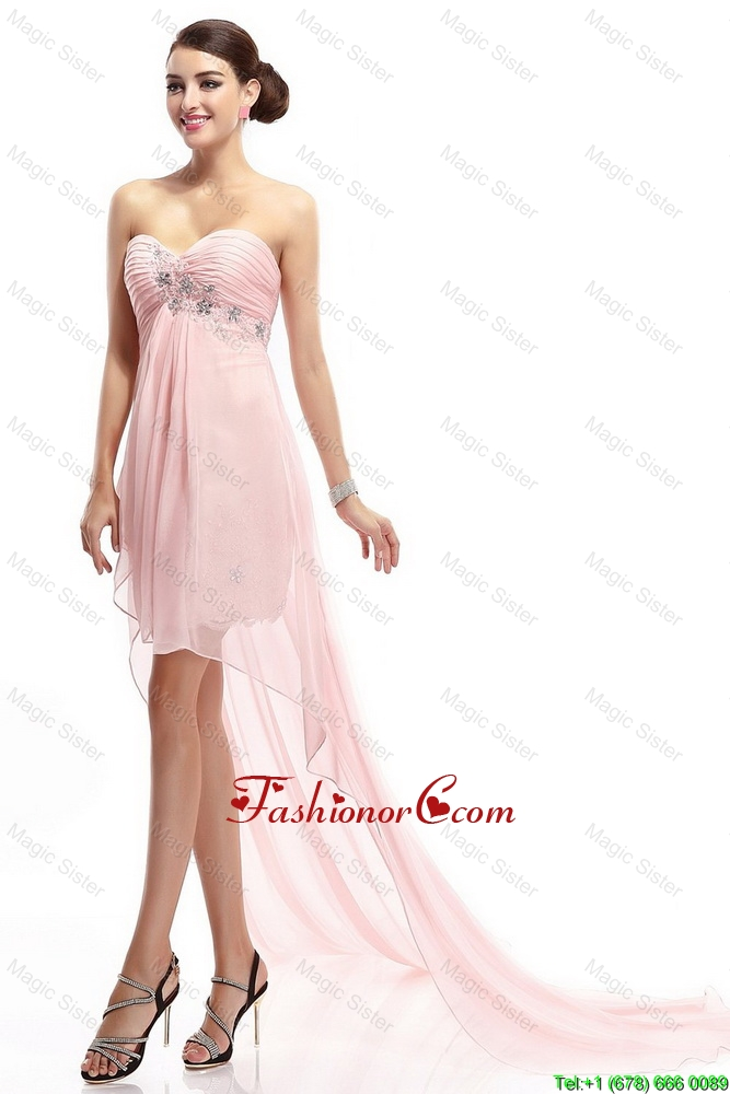 Best Selling Sweetheart Beaded Prom Gowns with High Low DBEE100FOR