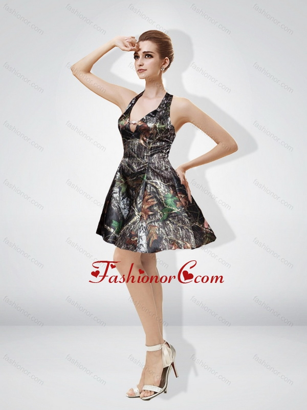 Fashionable 2015 Short Halter Mini Length Ruching Camo Prom Dresses ...