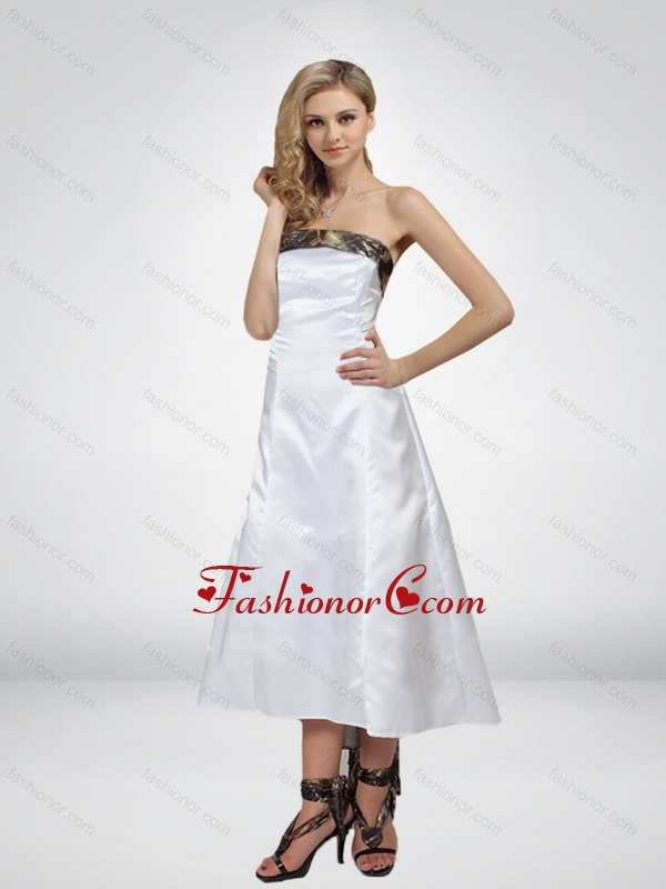 Fashionable High Low Strapless Camo Prom Dresses in White CMPD051FOR