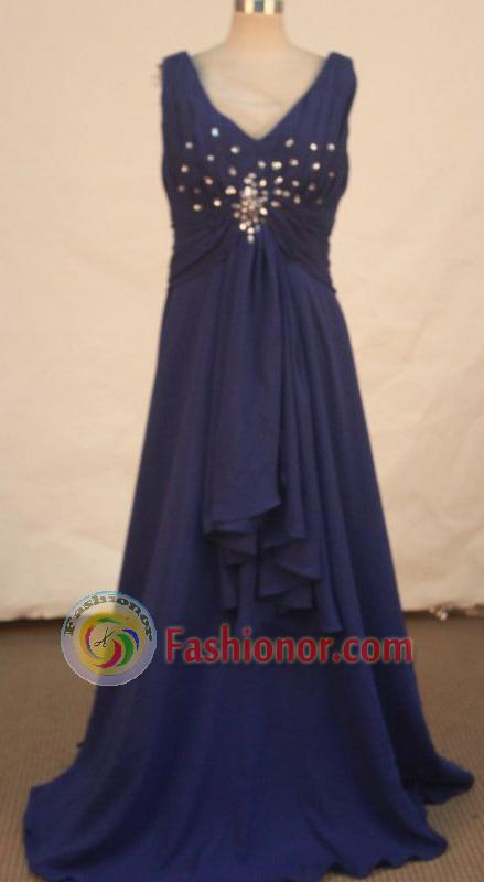 Simple A-line V-neck Floor-length Purple Beading Prom Dresses Style FA-C-194