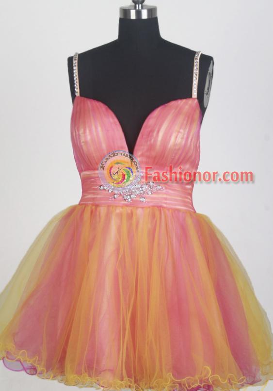 Sweet Short Straps Mini-length Orange Prom Dress LHJ42848 ...