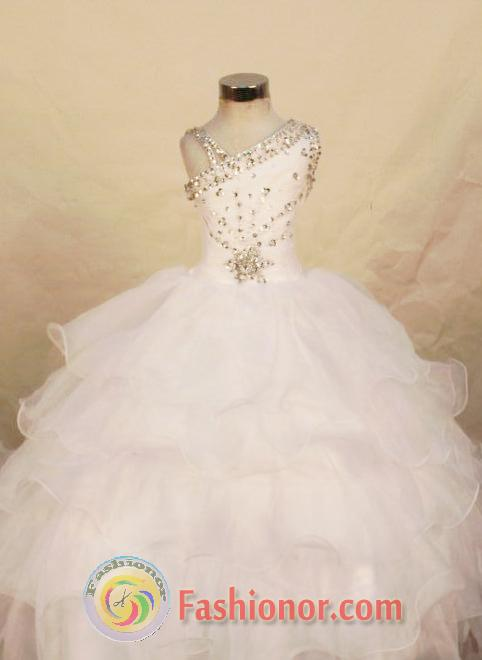 Beautiful Ball gown One-shoulder Neck Floor-length White Beading ...