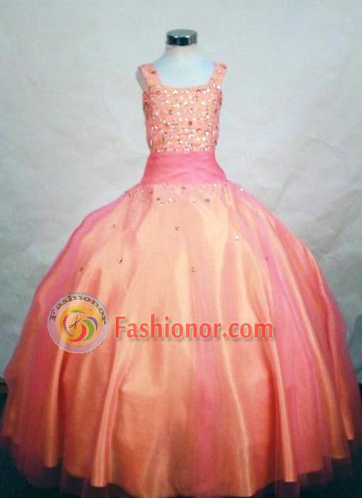 Fashionable Ball Gown Strap Floor-length Orange Beading Flower Girl dress Style FA-L-456
