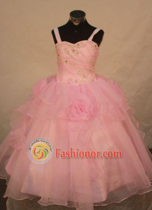 Affordable Ball Gown Strap Floor-length Baby Pink Organza Beading Flower Gril dress Style FA-L-426