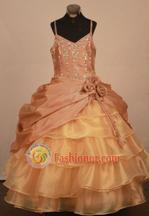 Elegant Ball gown Strap Floor-Length Little Girl Pageant Dresses ...
