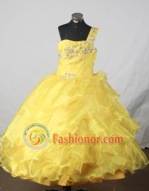 Exquisite Ball Gown One Shoulder Neck Floor Length Yellow Beading