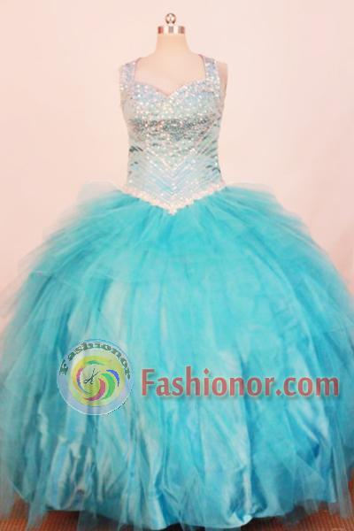 Exquisite Ball Gown Strap Floor-Length Teal Little Girl Pageant ...