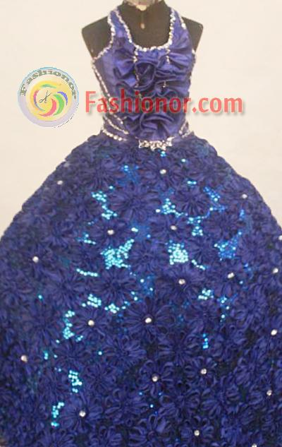 Fashionable Ball Gown Halter top neck Floor-Length Blue Little Girl Pageant Dresses Style FA-Y-304