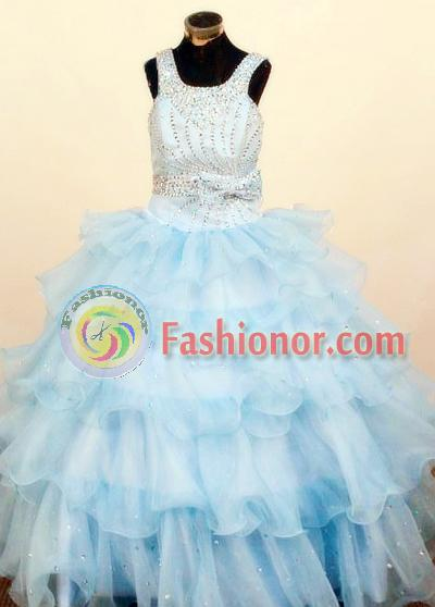 Lovely Ball Gown Square Neck Floor-Length Baby Blue Little Girl Pageant Dresses Style FA-Y-352