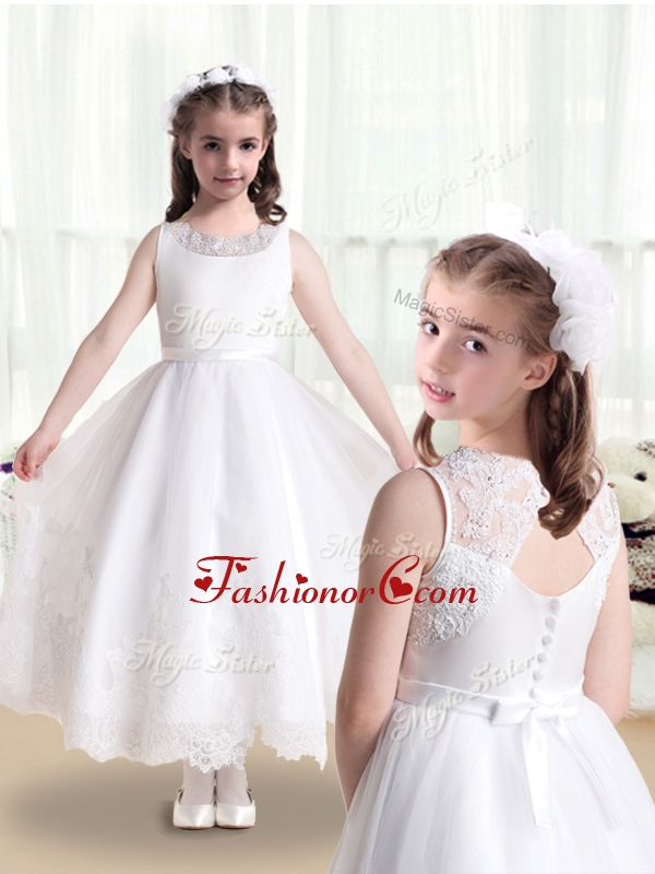 Lovely Empire Scoop Flower Girl Dresses in White with Appliques FGL271FOR