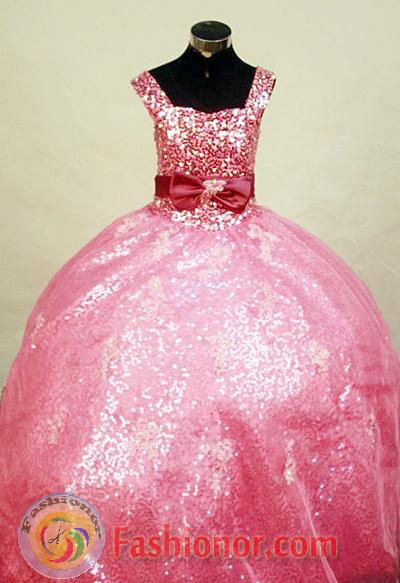 Simple Ball Gown Square Floor-Length Watermelon Little Girl ...