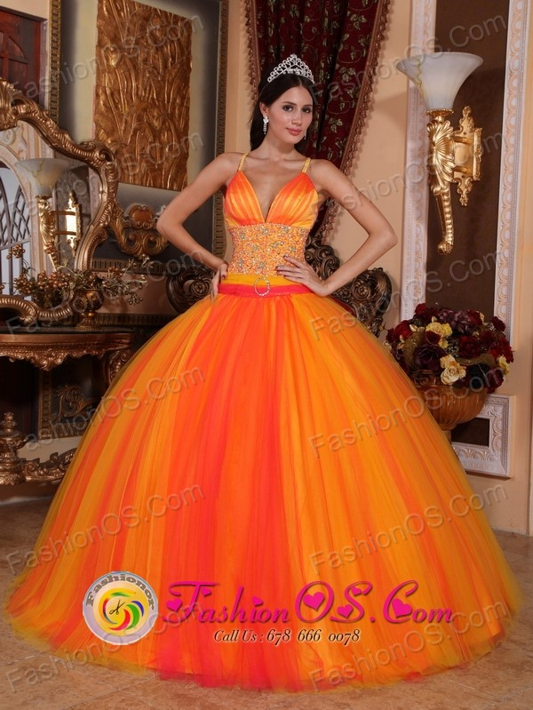 Orange Red Fantastic Quinceanera Dresses With V-neck With Spaghetti ...