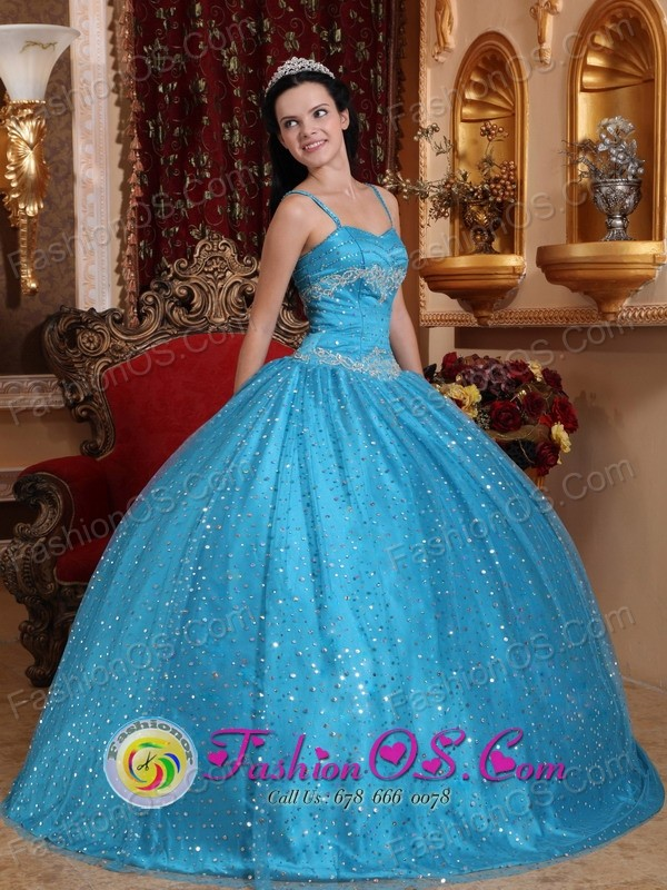 Spaghetti Straps Sequin And Beading Decorate Popular Teal Quinceanera Dress  For 2013 in Colcapirhua Bolivia Style QDZY715FOR