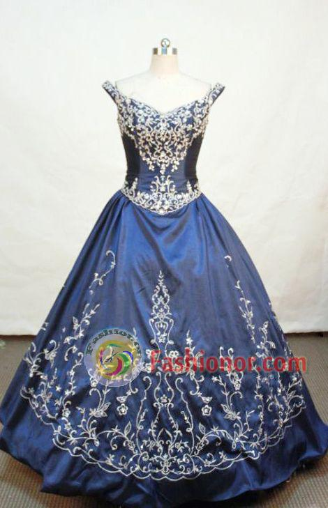 Gorgeous ball gown off the shoulder floor-length  embroidery navy blue taffeta quinceanera dress FA-X-022