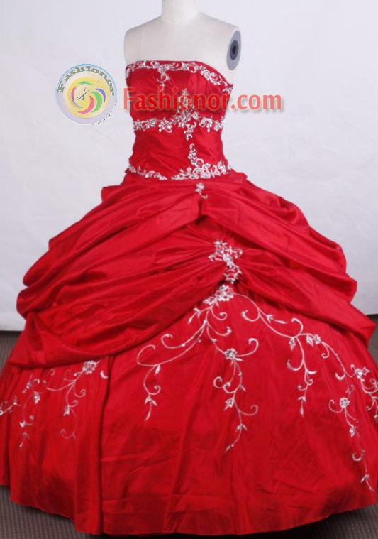 Modern Ball gown Strapless Floor-length Quinceanera Dresses Embroidery with Beading Style FA-Z-0024