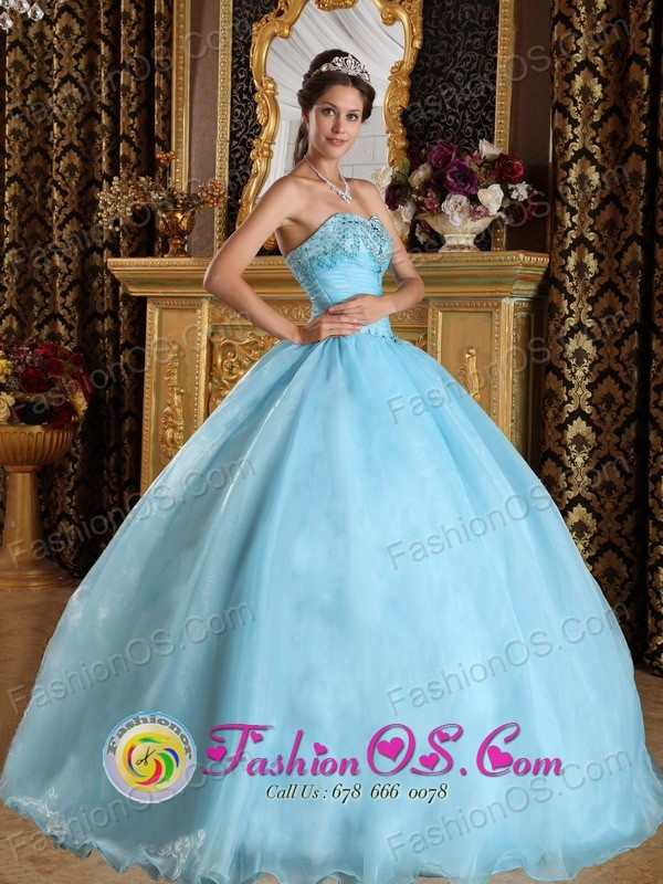 Coatzacoalcos Mexico Customize Aqua Blue For Beautiful Quinceanera Dress With Sweetheart Organza Beading ball gown Style QDZY356FOR
