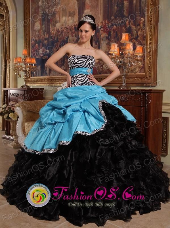 Nezahualcoyotl Mexico New Style Aqua Blue and Black Quinceanera ...