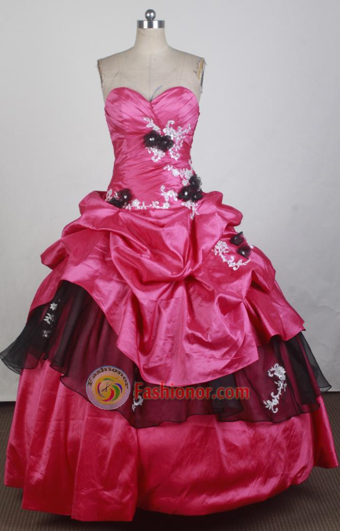 Low Price Ball Gown Strapless Floor-length Red Quinceanera Dress ...
