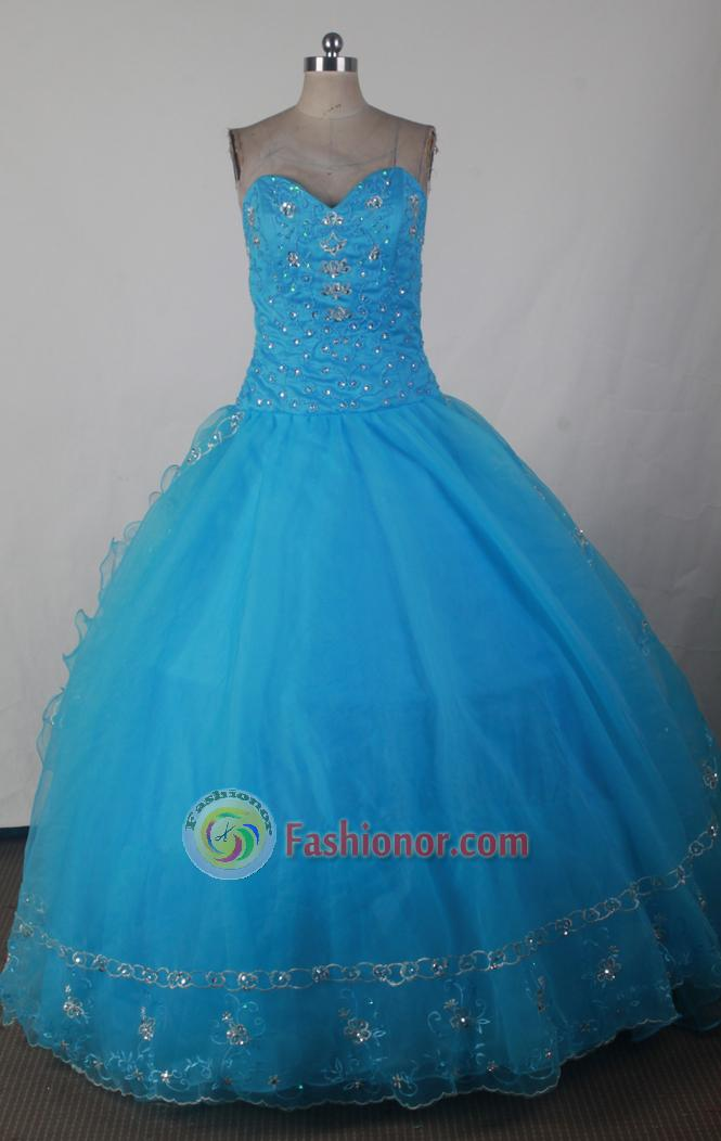 Luxurious Ball Gown SWeetheart Floor-length Blue Quinceanera Dress X0426018
