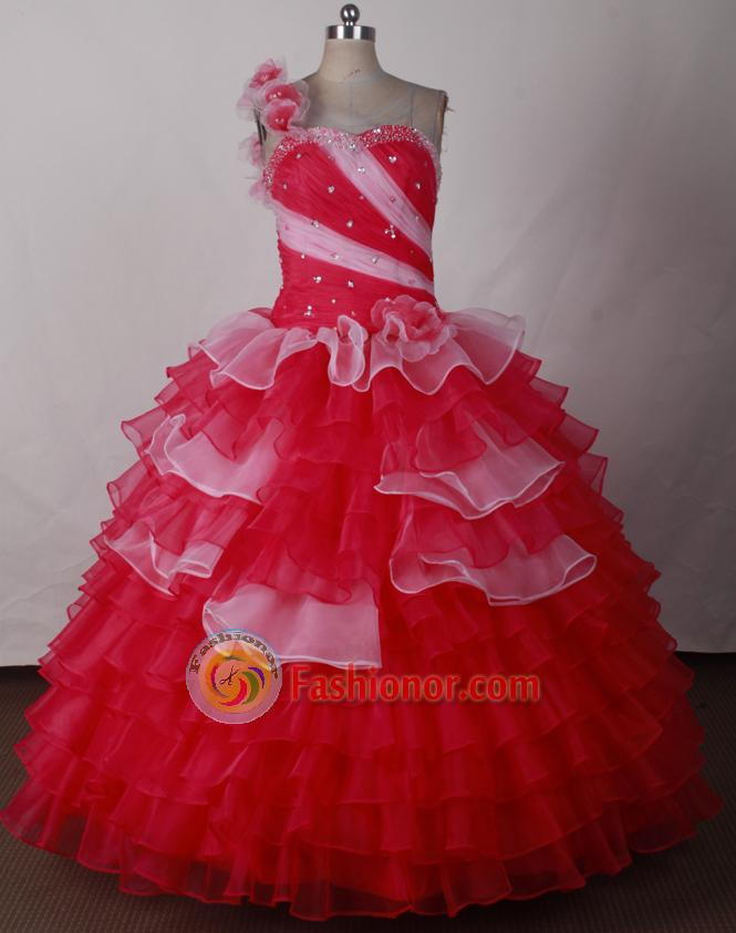Perfect Ball Gown One Shoulder Neck Floor-length Quinceanera Dress LJ2624