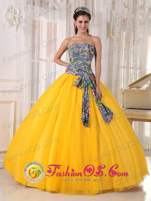 For Formal Wholesale Evening Golden Yellow and Printing Quinceanera ...
